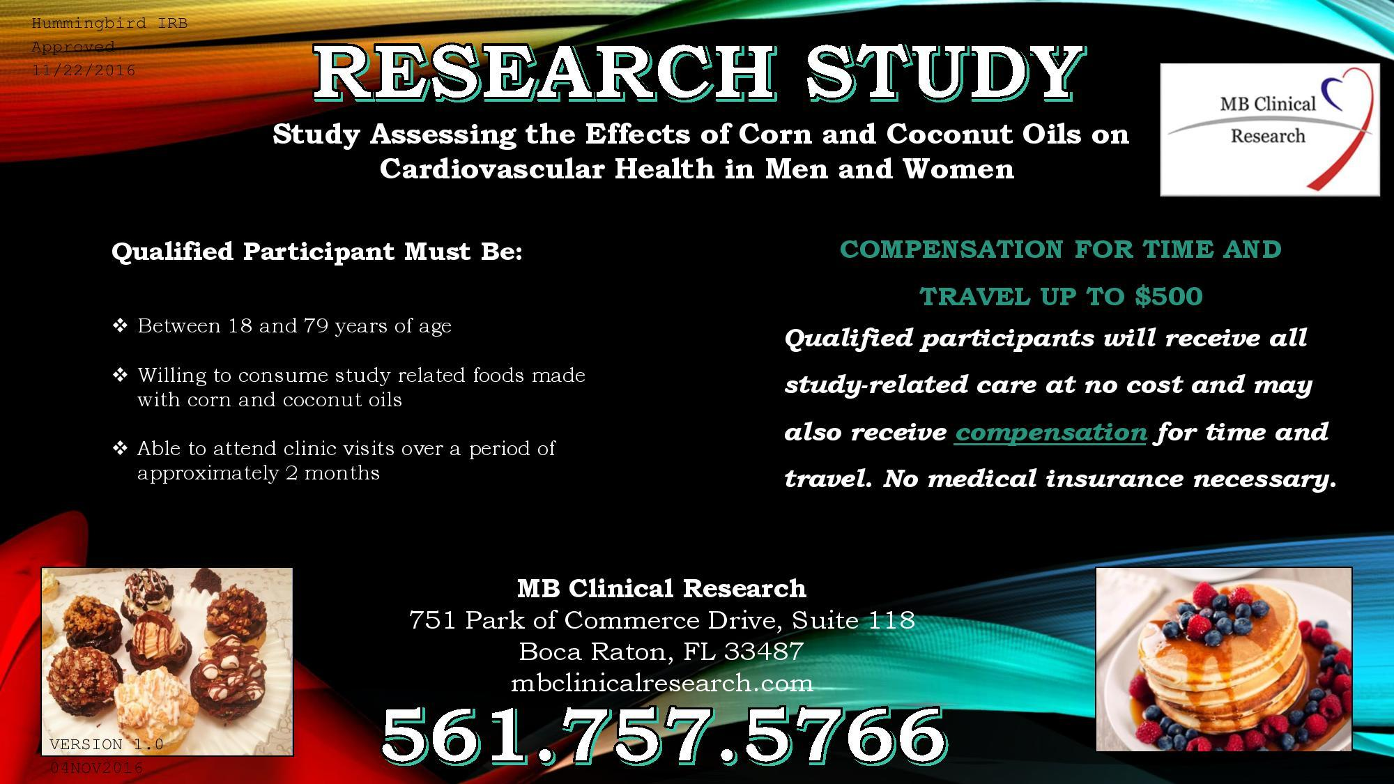 Study Assessing the Effects of Corn and Coconut Oils on Cardiovascular Health in Men and Women